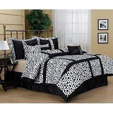 NEW Full Queen Cal King Bed 7 pc Zebra Leopard Black White Patch Comforter Set