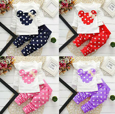 2 Pcs Polka Dot Leggings Baby Kids Girls Clothing Sets Cute Cartoon Suits