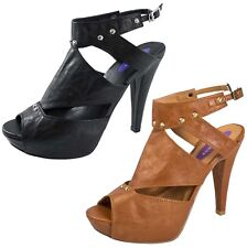 Womens Cut Out Sandals Faux Leather Platforms Studded High Heels Shoes Size