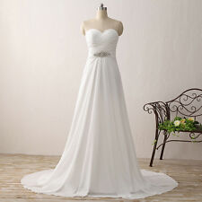 Sweetheart Chiffon Beading Evening Party Dress Simple Beach Wedding Gowns E608