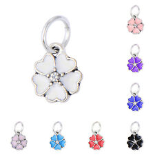 5PCS silver plated European dangle beads Rainbow Enamel Flower fit bracelet