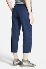 BNWT Eileen Fisher Organic Cotton Tencel Twill MIDNIGHT Navy Adj Cuff Capri  M