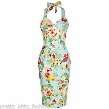PRETTY KITTY 40s TURQUOISE FLORAL WIGGLE PENCIL PARTY VINTAGE COCKTAIL DRESS 16