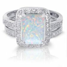 Large Emerald Cut White Fire Opal Wedding Engagement Sterling Silver Ring Set
