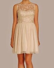 NWT Womens 12 AIDAN MATTOX Champagne Lace Bodice Mesh Skirt S/L Fit Flare Dress