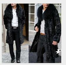 2016 Luxury Mens Faux Fur Parka Coat Long Jacket Outerwear Overcoat black Winter