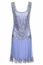 BLUE CHARLESTON FLAPPER GATSBY dress 20s ART DECO SILVER UK 8 10 12 14 COCKTAIL