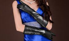 New Women's Long Genuine Real Lambskin Leather Winter Warm Gloves Christmas Gift