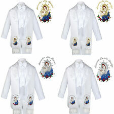 6pc Baptism White Tuxedo English Spanish Colored Silver Gold Pope Maria Stole
