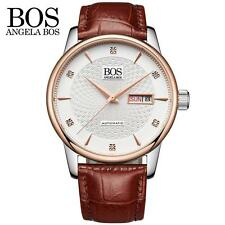 Angela Bos Mens Automatic Mechanical Analog Date Leather Male Wrist Watch L3Y6