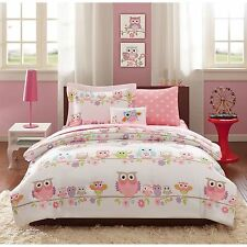 NEW Twin Full Bed Bag 8 pc Pink Blue White Owl Floral Branches Comforter Set NWT