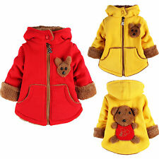 Cute Kids Girls Boys Zip Up Bear Hooded Parka Jacket Coat Winter Warm Outerwear