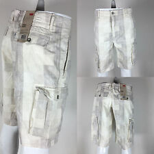 New Levi's White Gray Plaid Men's Premium Cotton Relaxed Cargo Shorts 124630294