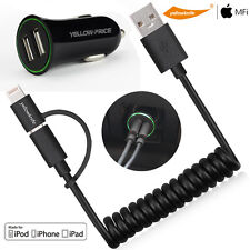 2-in-1 Micro USB+Lightning Data Charger Cable 2.4A Car Charger for Apple Android
