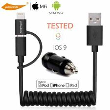 Certified 2 IN 1 USB Charger Sync Data Cable For Android iPhone+Fast Car Charger