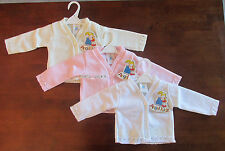 BABY GIRLS KNITTED CARDIGAN WITH LACE DETAIL WHITE CREAM PINK 0-3 3-6 6-9 MONTHS