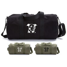 Army Force Gear American Pitbull Dog Canvas Military Duffle Bag Sport Gym Duffel