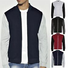 Mens Side Pocket Contrast Sleeve Bomber Jacket Sweatshirt Baseball Zip Cardigan