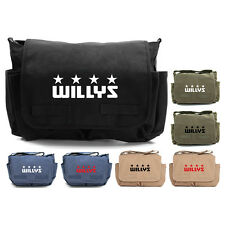 Willys Jeep Freedom Stars Military Army Canvas Messenger Shoulder Bag