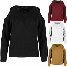 Womens Ladies Cut Out Shoulder Warm Knitted Round Neck Long Sleeves Crop Jumper