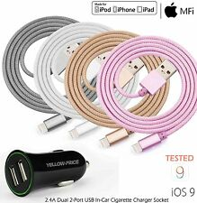 QUALITY APPLE LIGHTNING SYNC&CHARGER USB DATA CABLE w/ CAR CHARGER FAST CHARGING