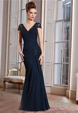 Navy Blue Plunging Back Mother of the Bride Dresses for Wedding Ceremony W1712