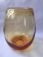 Whitefriars Controlled Bubble Amber Glass Vase