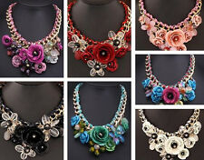 Hot Pendant Jewelry Collar Chunky Flower Necklace Choker Crystal Statement New