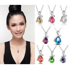 1x Fashion White Gold Plated Crystal Eternal Love Teardrop Pendant Necklace #JC