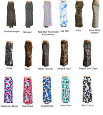 Womens Banded Waist Foldover Various Print Maxi Skirt - Made in USA