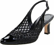 Vaneli Womens Madala Black Patent Leather Slingback Pump