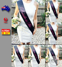 Black Sashes Pink Text Hens Night Party Bride To Be Bridesmaid Maid of Honour