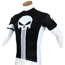Black Cool Skull Mens Cycling Jersey Bicycle Wear MTB Top Road Bike Shirts S-5XL