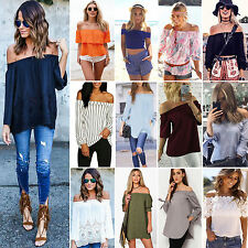 Fashion Women's Sexy Off Shoulder Casual Slim T-Shirt Tops Blouse Party Clubwear