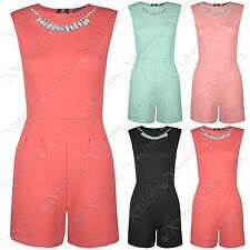 NEW LADIES DIAMANTE JEWEL NECKLACE TOP PLAYSUITS WOMENS SHORTS LOOK DRESS PANTS