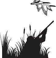 Hunter Shooting Geese On Hunting Grounds Decal Vinyl Sticker