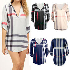 Womens Plaid Blouse V Neck Casual 3/4 Sleeve Shirt Loose Check Tshirt Tunic Top