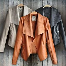 Sexy Women Punk Slim Biker Motorcycle Short Jacket Lapel PU Leather Coat Outwear