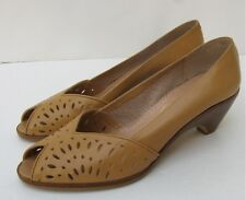 Vtg Spain Cut Out Peep Toe Boho Free Spirit Hippie Hipster  Wood Stack 70s 80s