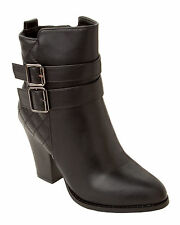 WOMENS BLACK BUCKLE FASHION HIGH HEEL SIDE ZIP ANKLE BOOTS LADIES UK SIZE 2-8