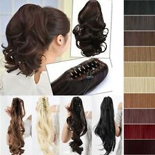 Jaw Ponytail Clip in Hair Extension Claw Pony tail human looking Curly Wavy tgo8