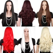 No Bangs Half Wig Curly Wave Straight Heat Resistant Synthetic Wigs Costume COS