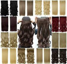 UK clip in half full head hair extensions curly straight extension As human dx36