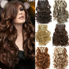 Women Hair Extensions 20 inches Hair Pieces Natural Wavy Curly Synthentic Clip