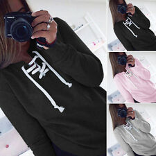 NEW WOMENS LADIES PLAIN HOODIE SWEATSHIRT LACE UP PULLOVER TOPS JUMPER SIZE 6-16