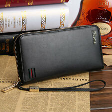 Men's Leather Credit Card Holder Zippered Wallet Wristlet Purse Checkbook Clutch