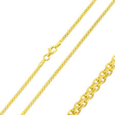 Pure 2mm 925 Sterling Silver Bismark Chain Necklace / Gold Plated made in italy