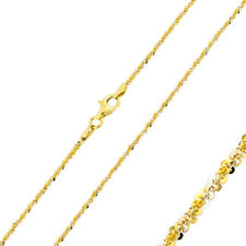 Pure 1.45mm 925 Sterling Silver Rock Chain Necklace / Gold Plated made in italy