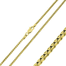 Pure 1mm 925 Sterling Silver Box Chain Necklace / Gold Plated made in italy
