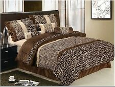 NEW Twin Full Queen King 7 pc Leopard Zebra Tan Brown Faux Fur Comforter Set NWT